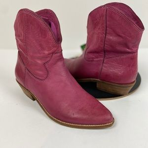 Pink Leather Western Ankle Boots Size 7